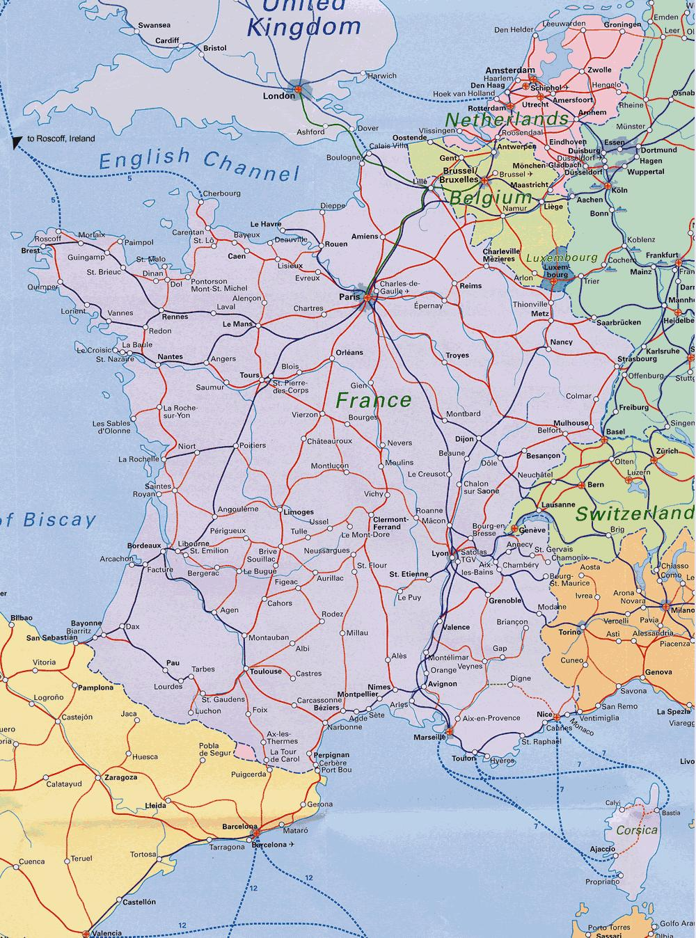 Eurail map France - Euro train map France (Western Europe - Europe)