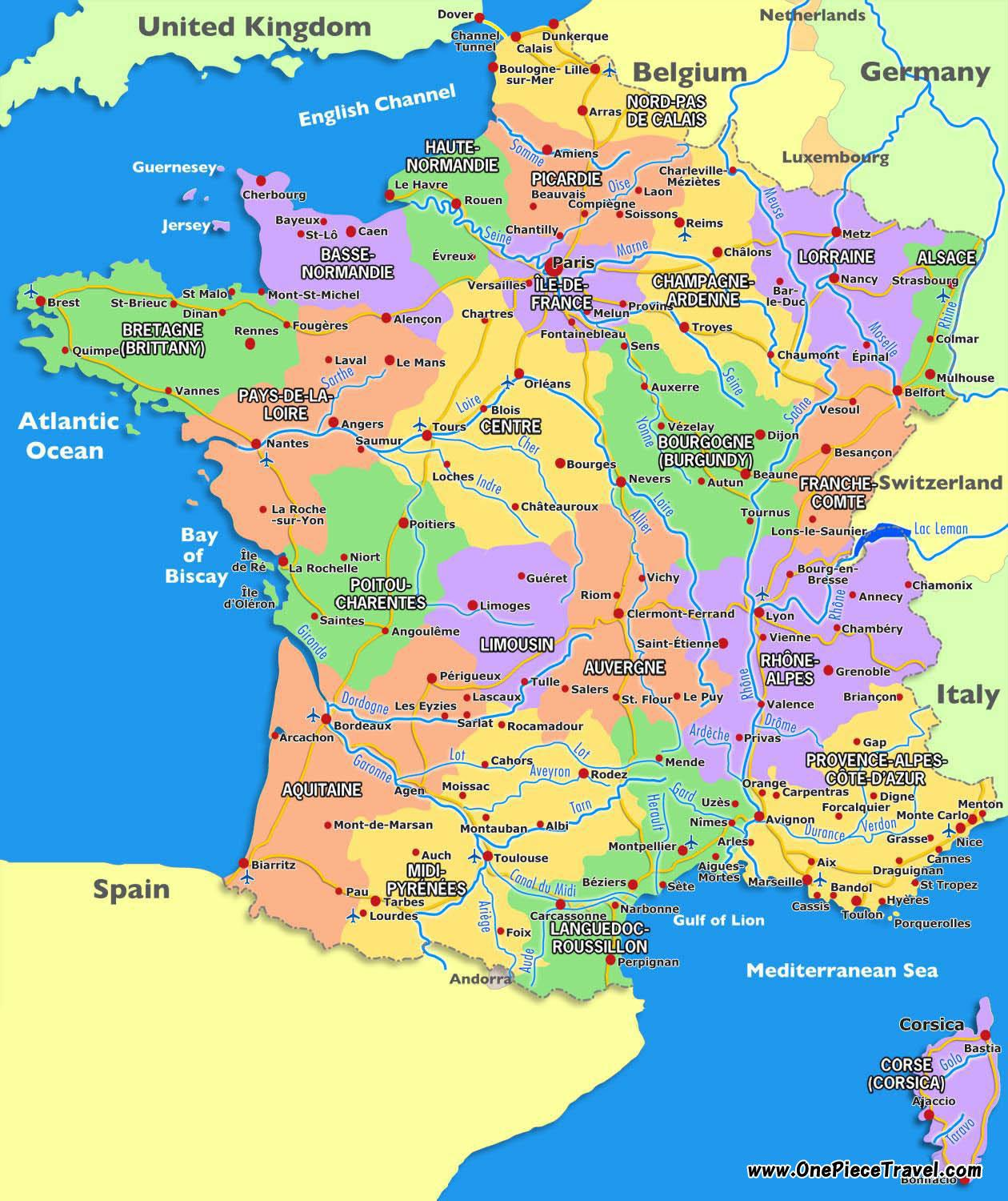 France tourist map Tourist map of France tourist attractions