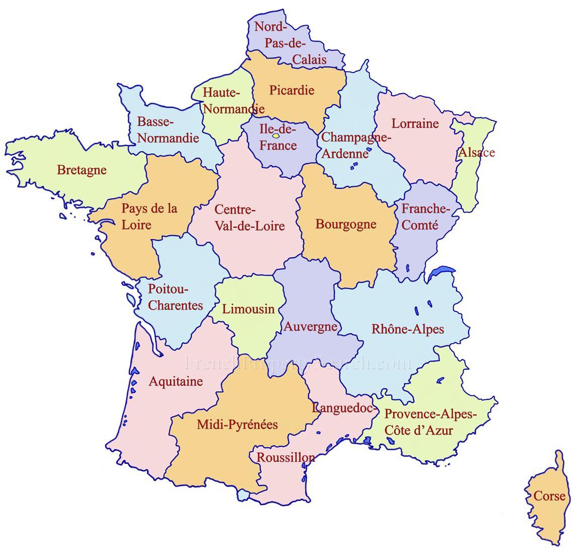Google map France regions - Detailed map of France regions (Western ...