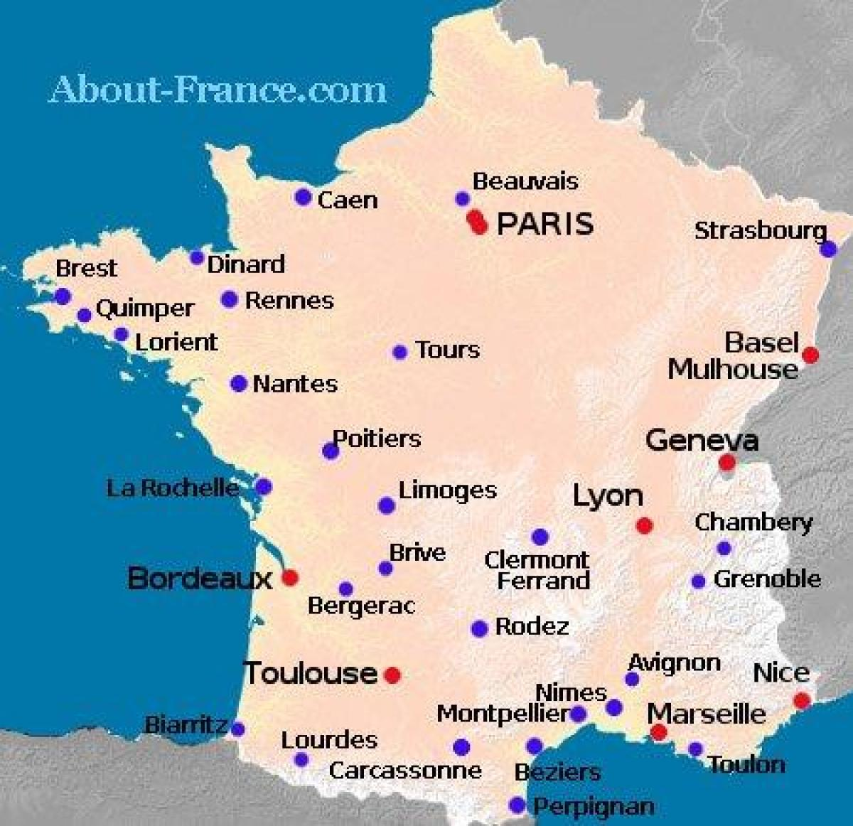 map of France showing airports