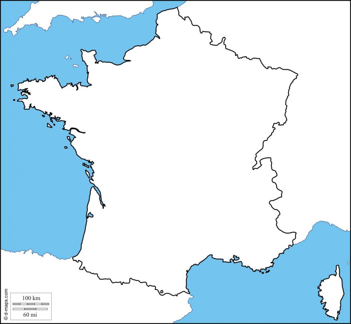 Blank Map Of France Physical Map Of France Blank Western Europe
