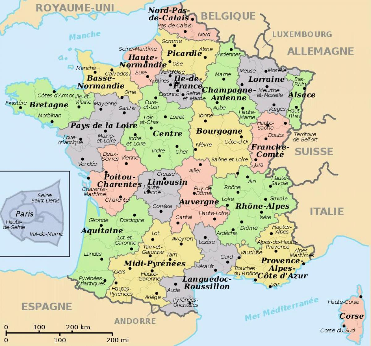 Map Of Areas Of France.France Districts Map Areas Of France Map Western Europe Europe