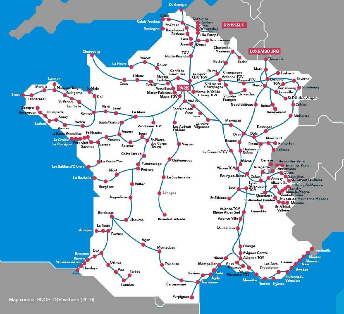 map of France high speed train