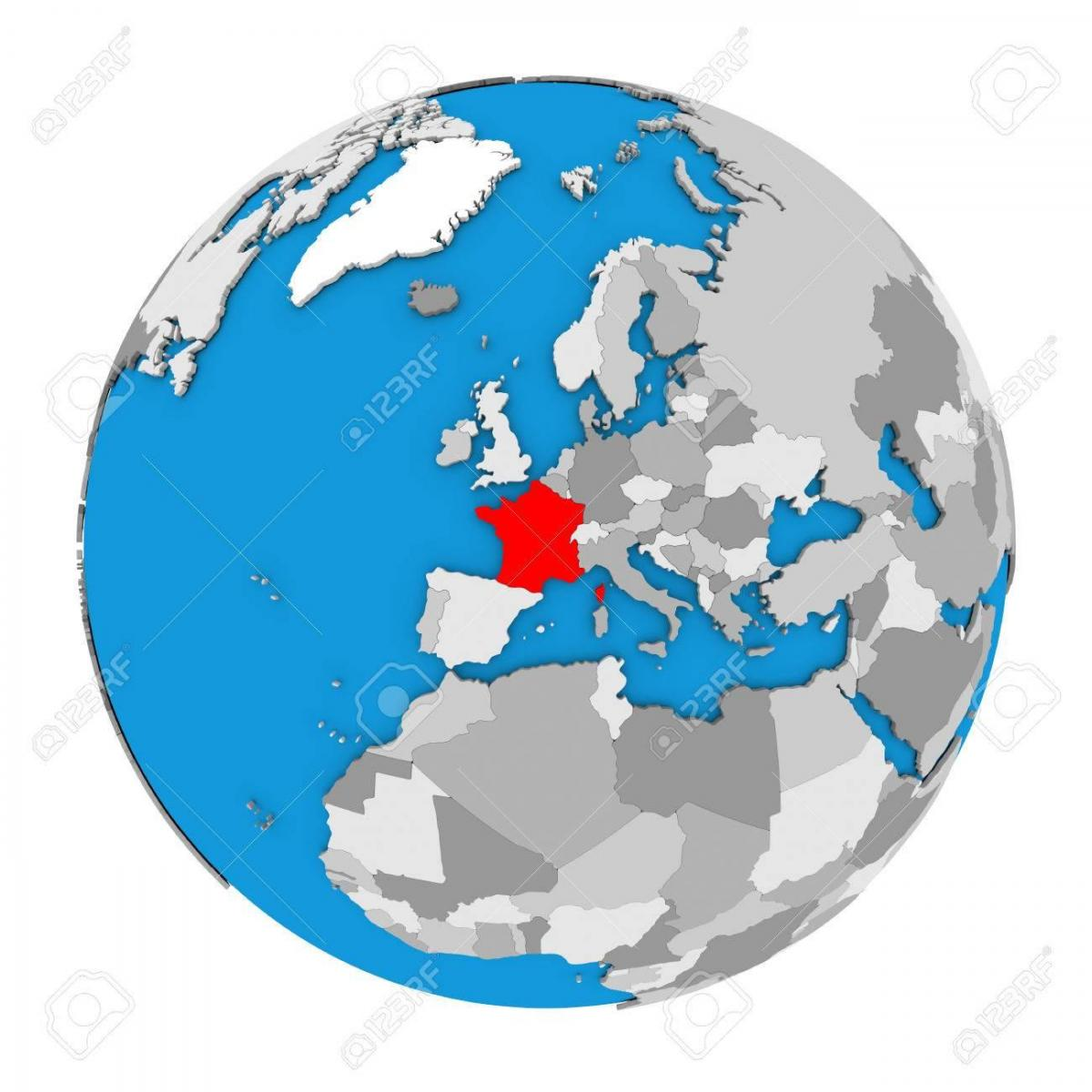 France location on world map - World map with France highlighted ...