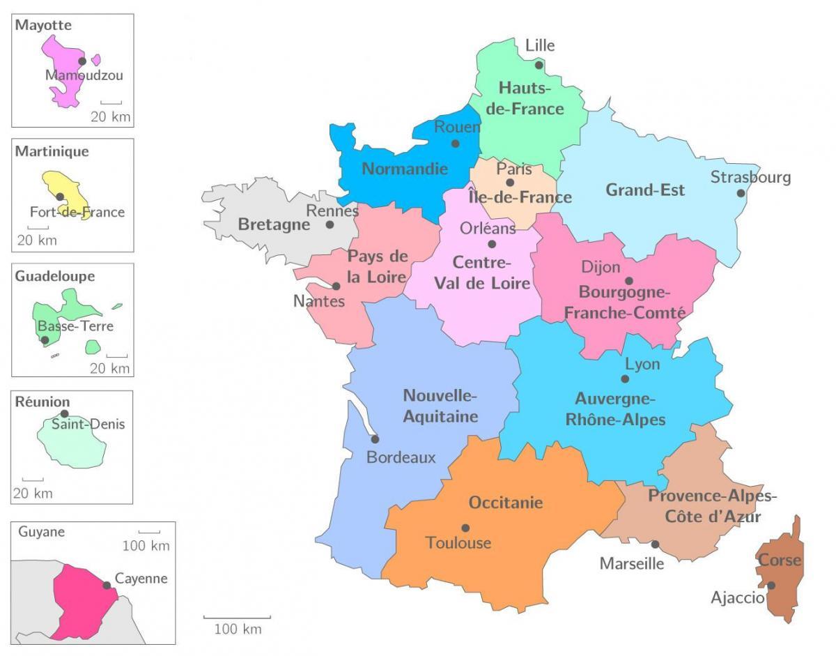 frankrike karta regioner France region map   Map region France (Western Europe   Europe) frankrike karta regioner