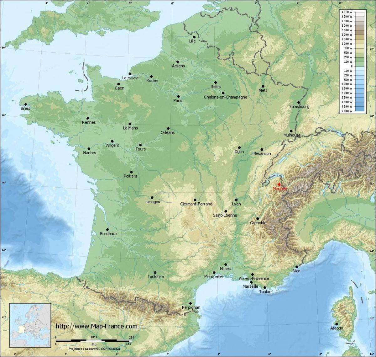map of France relief