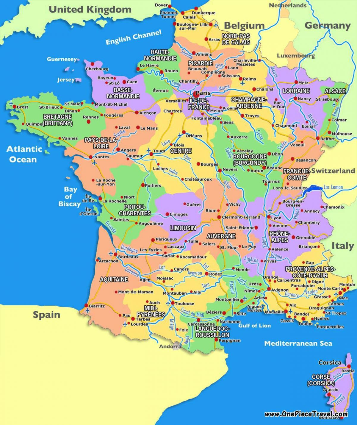 tourist map of France tourist attractions
