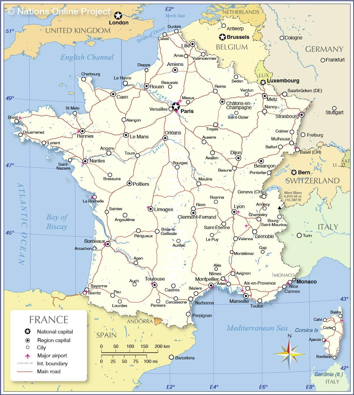 France airports map international