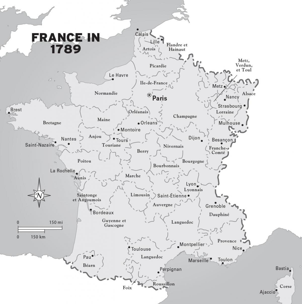 map of France during french revolution