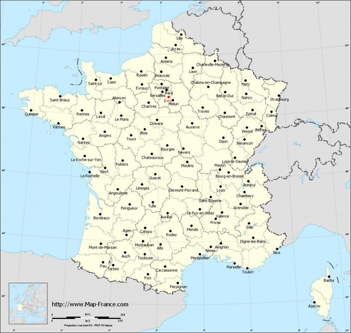A Map Of France With Cities.Map Of France With Cities Map Of France And Cities Western Europe