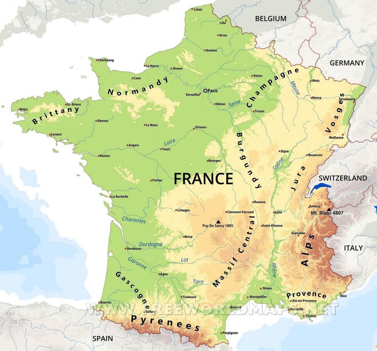 Physical map of France France physical features map Western