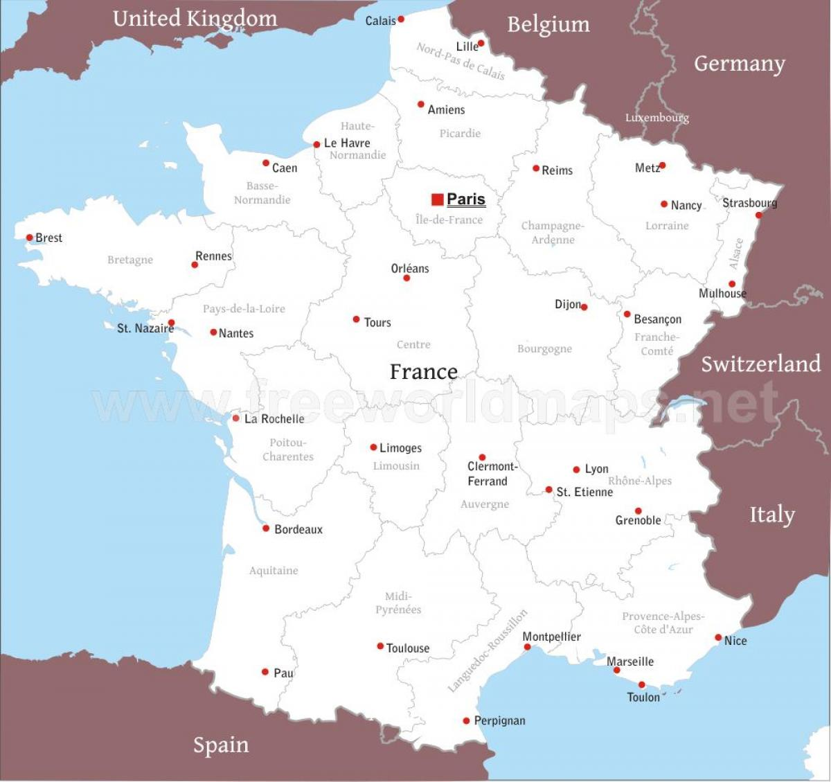 Political map of France outline Map of France political Western
