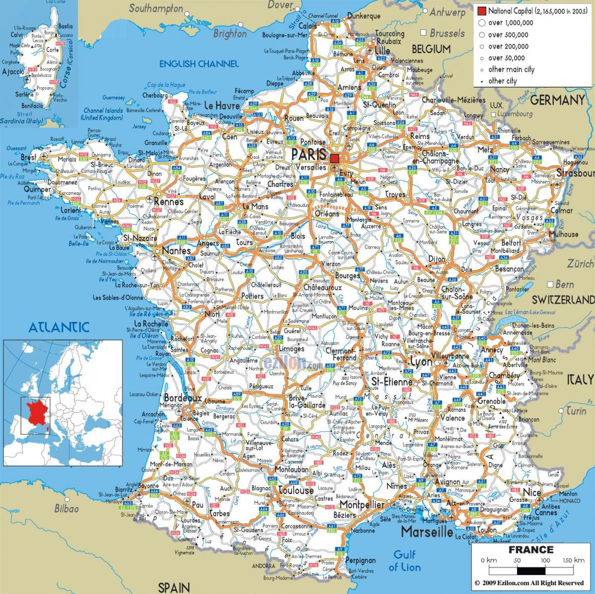 Road map of southern France South of France road trip map Western