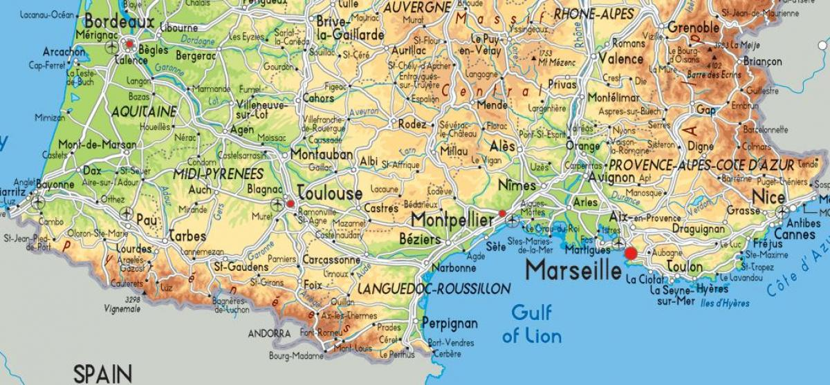 south France map detailed