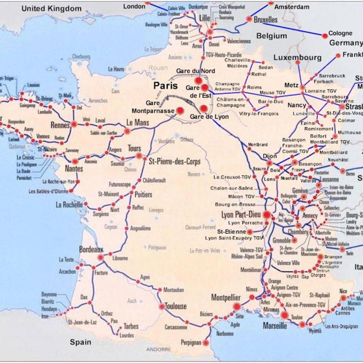 Train Map South France South Of France Train Map Western Europe