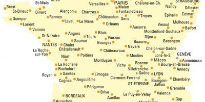 Map of France with all cities